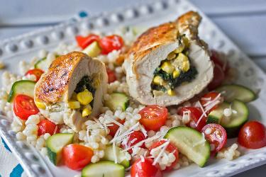 Cheesy Corn & Kale Stuffed Chicken