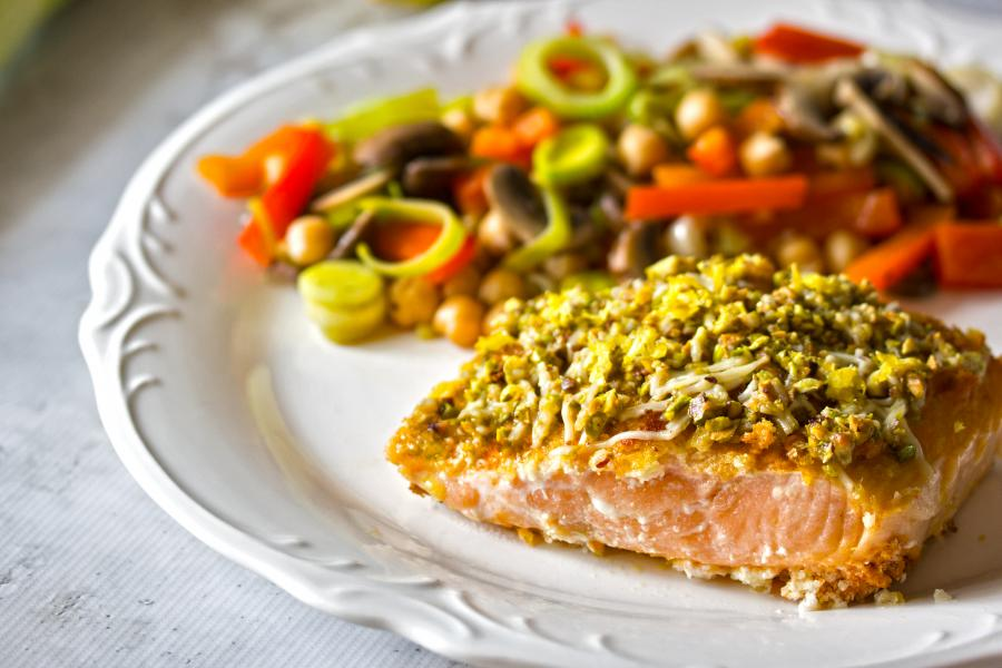 Parmesan Pistachio Crusted Salmon